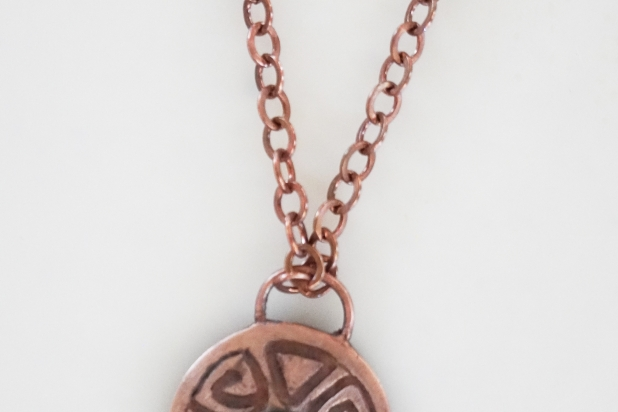 Rustic hand forged copper Shield Pendant