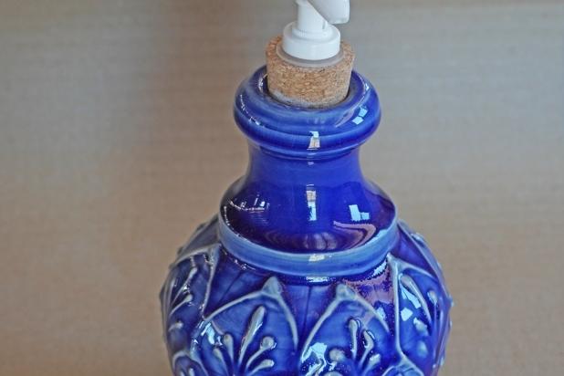 Elegant Cobalt Blue Lotion Bottle, Soap Dispenser