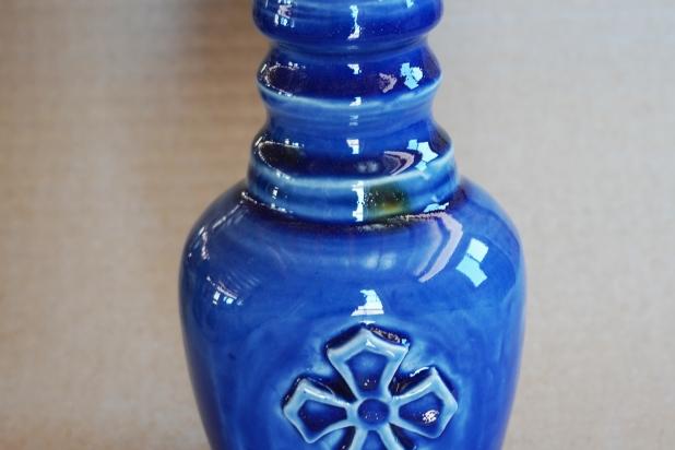 Medieval Cross Lotion Bottle in Cobalt Blue