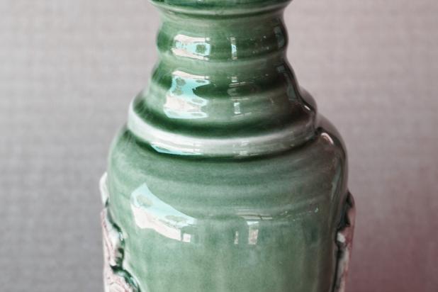 Handmade Green Viking Bird Lotion Bottle