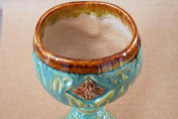 Handmade Turquoise  Celtic Pottery Goblet