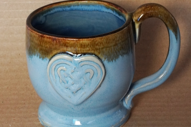 Handmade Celtic Heart Mug in Sky Blue