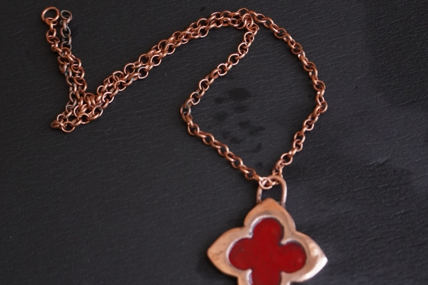 Red Copper Clover Medieval Pendant