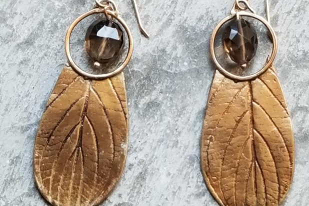 Golden Bronze Tribal Leaf Earrings