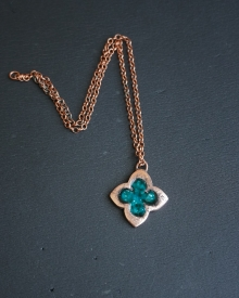 Green Copper Clover Pendant