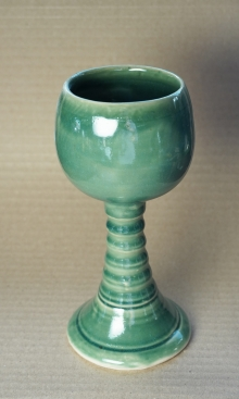Emerald Green Pottery Goblet, Handmade Chalice
