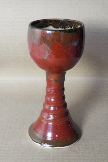 Handmade Rust Red Pottery Goblet