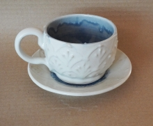 White and Stardust blue Soup Mug