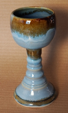 Handmade Sky Blue Pottery Goblet by Saxon Designs