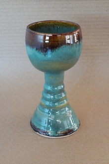 Rustic Handmade Turquoise Pottery Goblet