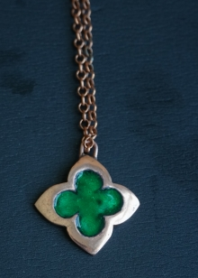 Emerald Green Copper Clover Pendant