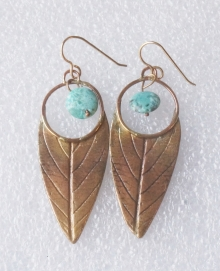 Bronze Leaf Earring with Turquoise Bead